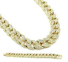 gold tone iced out mens icy stones miami cuban necklace chain and bracelet set 30
