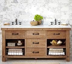 benchwright reclaimed wood double sink vanity wax pine finish pottery barn