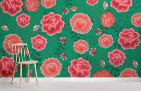 Flower Pattern Wallpaper Delectable Green Mexican Flower Wallpaper MuralsWallpaper