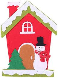 Snowman <b>Christmas Decoration</b> Knife and Fork Set <b>Cartoon</b> House ...