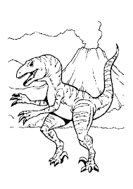 Coloriage D Un Tyrannosaure Pr S D Un Volcan