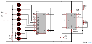 heart shaped serial led flasher circuit diagram using ic and circuit diagram and explanation