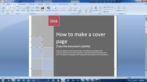 how to make cover page in microsoft word  how to make cover page in microsoft word 2007