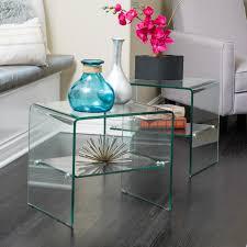 ramona transpa glass end table shelf set of by ramona christopher knight home today