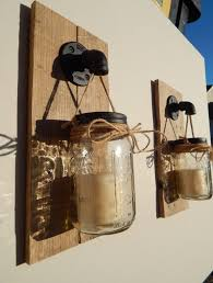Mason Jar Candle Holders Mason Jar Candle Holder Wall Sconce Set Of 2 Industrial Pipe