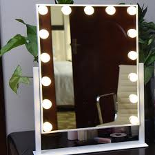 large led makeup mirror roration tabletop white yellow lighted touch screen vanity mirror with bulbs for dressing room small mirrors beauty makeup from