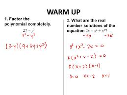 warm up 1 factor the polynomial completely 27 y 3 2