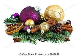 Christmas Ornaments Border Purple And Golden Christmas Ornaments Border