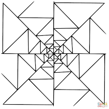 Small Picture Mandala with Triangles coloring page Free Printable Coloring Pages
