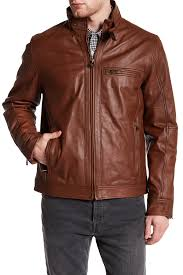 image of cole haan washed goat leather moto jacket
