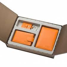 <b>Подарочный набор</b>: <b>3 предмета</b> из кожи оранжевого цвета Dr ...