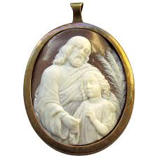 antique carved shell cameo and saint john pendant waterside dream ruby lane