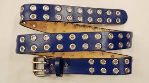 leather grommet belt blue