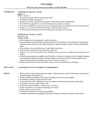 Corporate Travel Agent Resume Samples Velvet Jobs