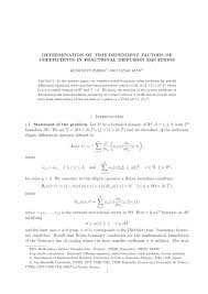 determination of time dependent factors of coefficients in fractional diffusion equations pdf available