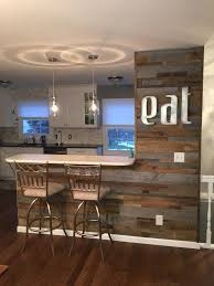reclaimed wood accent wall kitchen