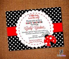 Printable Ladybug Baby Shower Invitation  FREE Thank You Card Free Printable Ladybug Baby Shower Invitations