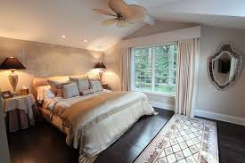white bedroom with dark furniture. Dark Wood Flooring Design For Master Bedroom Decorating Ideas With Rectangular Carpet And Fan On Sloped Ceiling Also Using Wall Mirror White Furniture