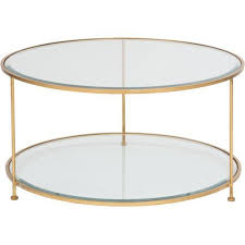 tables the rollo round coffee table is finished with gold leaf and 2 teired beveled glass top shelf open for display bronze round coffee table