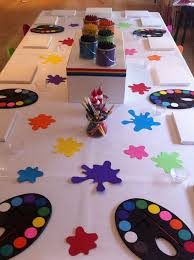 art party table love the paint splatters cute for school art show