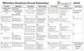 Winslow Gardens Event Calendar . 2018