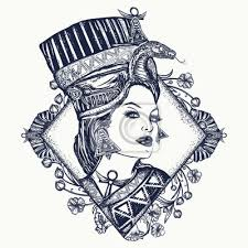 Plakát Starověké Egyptské Tetování Egyptská Královna Nefertiti Secesní