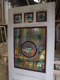 stained glass front door three over one panel for the home