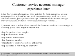 Interview Questions For Account Managers Customer Service Account Manager Cover Letter