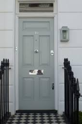 door furniture. FRont Door With Nickel Furniture On A Grey E