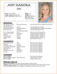 Resume Free Acting Resume Template Word Templates For Kids Actor