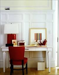 red home office. home office red chair and the lamp p