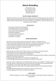 Resume Templates: Catering Server