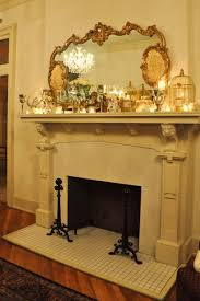 Fetching Image Of Home Interior Decoration Using Glass Candles Fireplace  Mantel Decor Including Rectangular Gold Mirror Over Fireplace And Square  Small ...