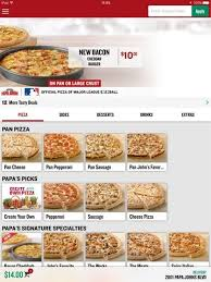Papa Johns Size Chart Papa John Pizza Size Chart World Of Menu And Chart