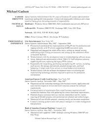 Resume Format For Experienced System Administrator Resume For Study