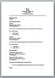 Simple Resume Format In Ms Word Resume Layouts Word Format For
