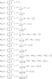 list of radial functions