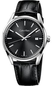 men s black calvin klein for ty date display watch k4m211c3