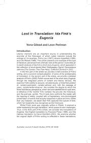 PDF) Lost in Translation: Ida Fink's Eugenia