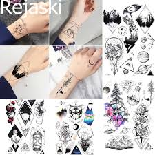Us 08 10 Offrejaski Temporary Tattoo Stickers Women Body Arm Tree Totem Waterproof Tatoo Wrist Foream Men Black Fake Tattoo Geimetric Planet In