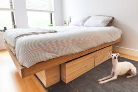 raw solid antique pine platform bed with storage queen king