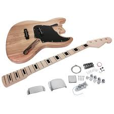 solo jb style diy bass guitar kit maple neck block inlay ash