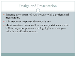 Presentation Resumes Resumes Design And Presentation Enhance The Content Of Your Resume