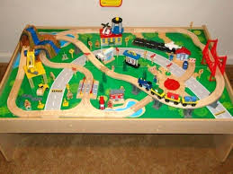 kidcraft wooden train table wooden train set wooden train table and piece waterfall mountain set best