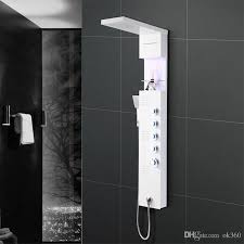 2018 stainless steel shower panel systemled rainfall waterfall lights with handle massage system led ceiling set for bathroom from ok360 shower panel system m44