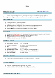 Sample Resume Format For Experienced Android Developer Archives