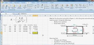 solving single pipenetwork loop using excel solver