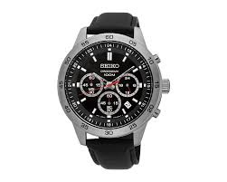 seiko men s hand watch chronograph black leather strap black dial and 100m water resistant sks519p2