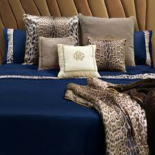 roberto cavalli leopard border duvet set super king blue amara