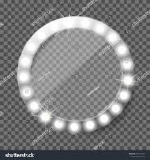 Round Makeup Light Round Makeup Mirror Light Bulbs Illuminated Stock Vector